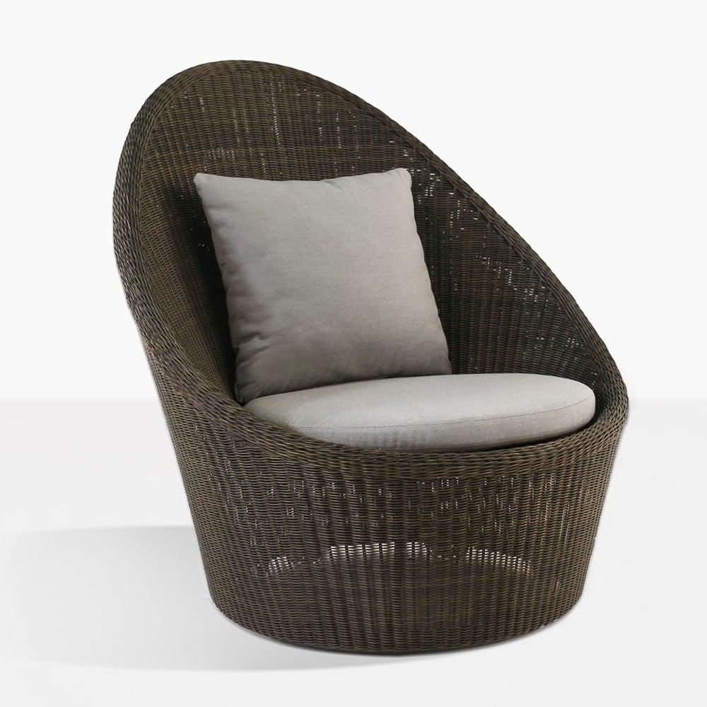High Back Wicker Relaxing Swivel Chair