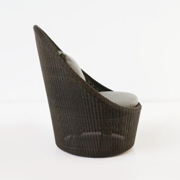 ... Side View Brown Wicker Swivel Chair ...