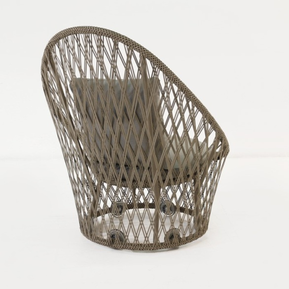 back view brown wicker chair