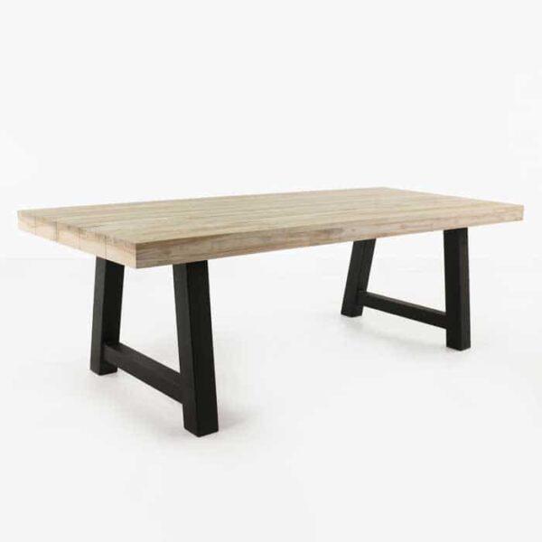 Village Teak and Steel Outdoor Dining Table (Black)-0