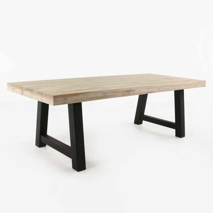 village teak and steel outdoor dining table with black