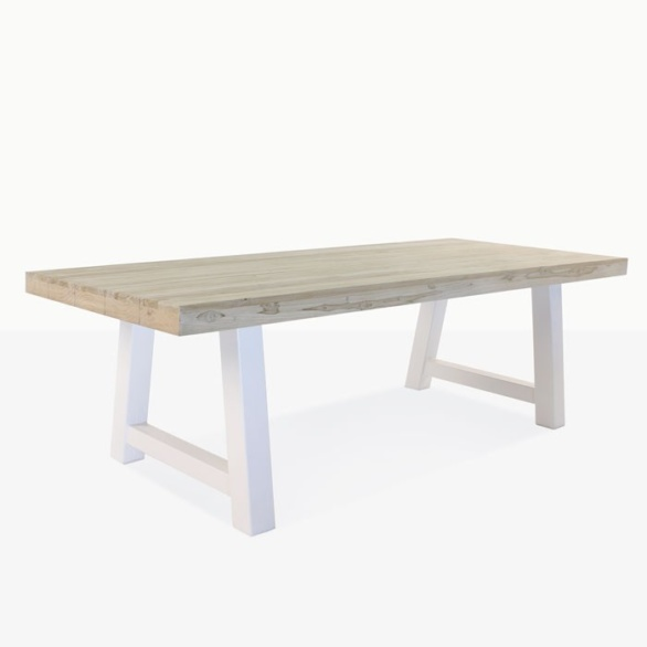 recycled teak tabletop with white legs