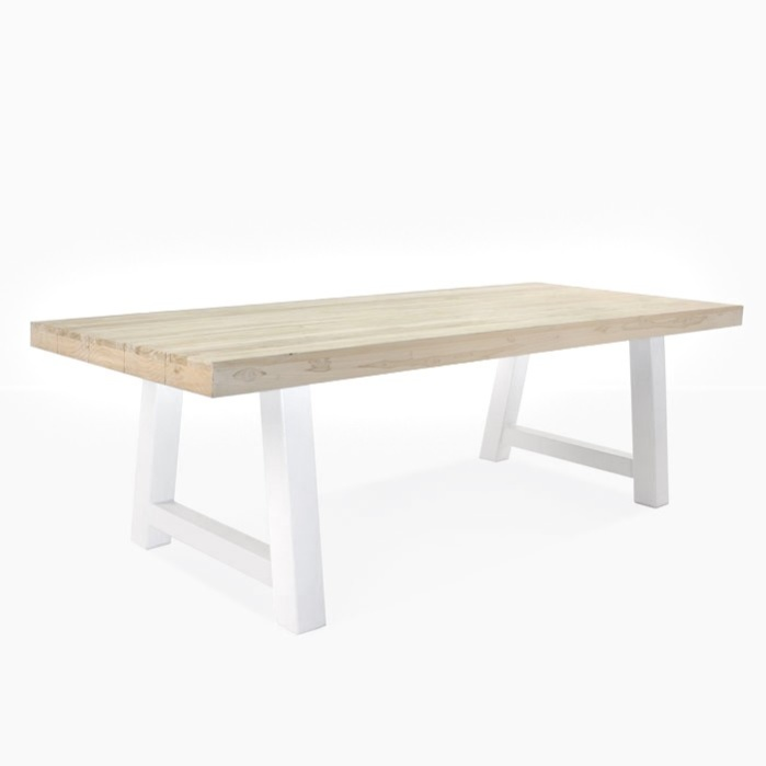 Captivating Village Teak And Steel Outdoor Dining Table (White) 0