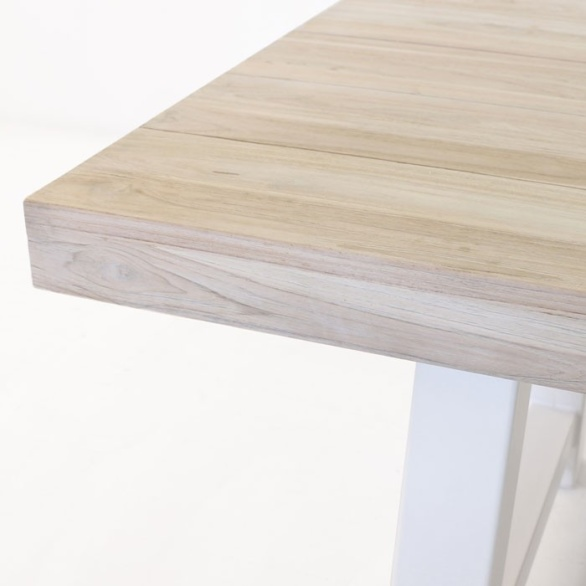 washed reclaimed teak table closeup