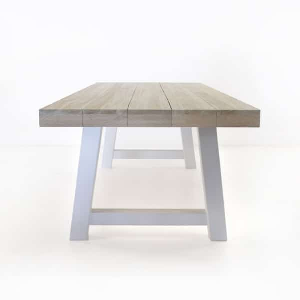 teak trestle table with white legs