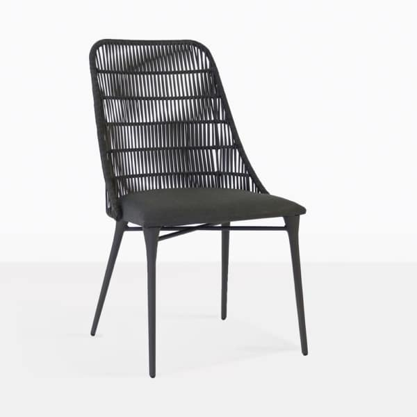 morgan black dining chair outdoor angle