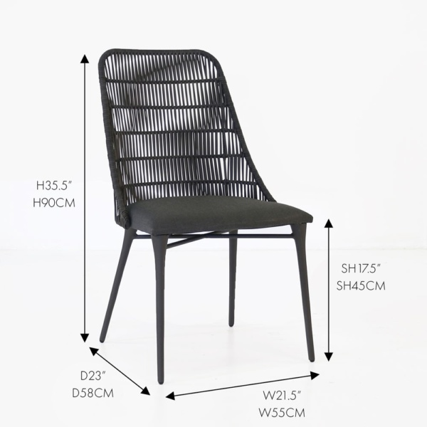 morgan black wicker outdoor dining chair