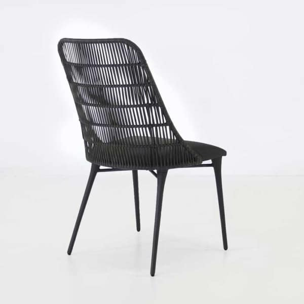 Outdoor Wicker Dining Chair black wicker back view