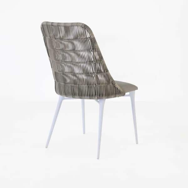 Outdoor Wicker Dining Chair stonewash back view