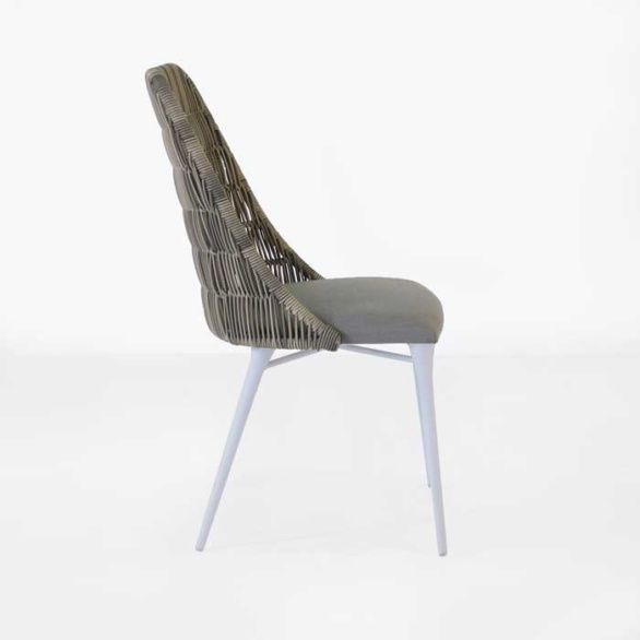 Outdoor Wicker Dining Chair stonewash side view
