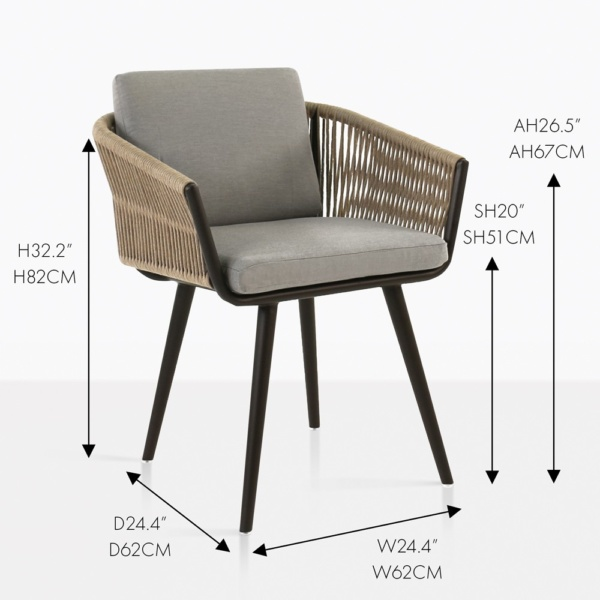 tessa rope dining chair measurements