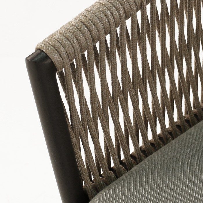 Rope Outdoor Dining Chair Restaurant Patio Seating Teak