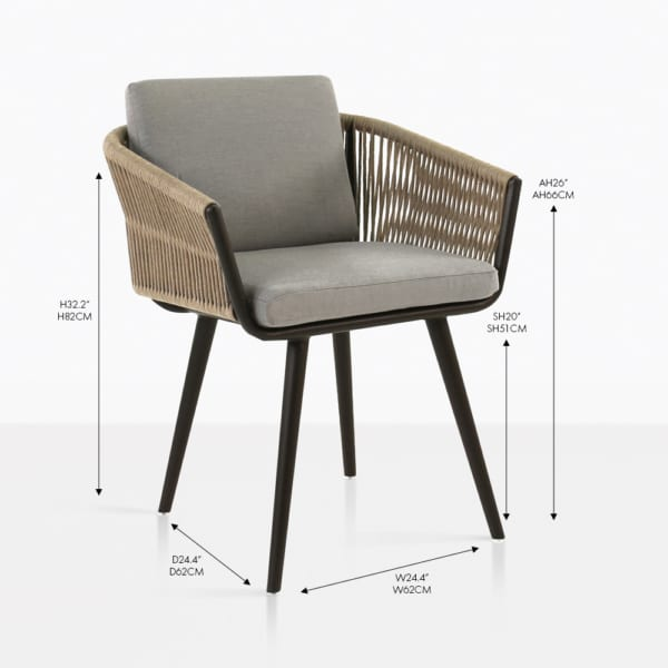 Tessa rope taupe dining chair