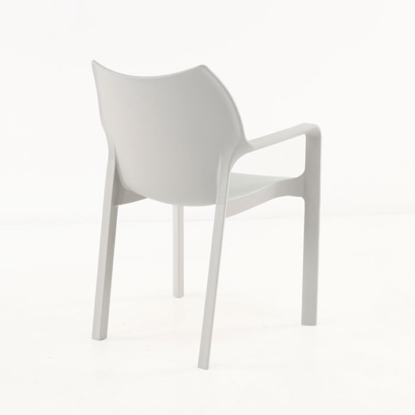 Cafe Dining Chair grey back view