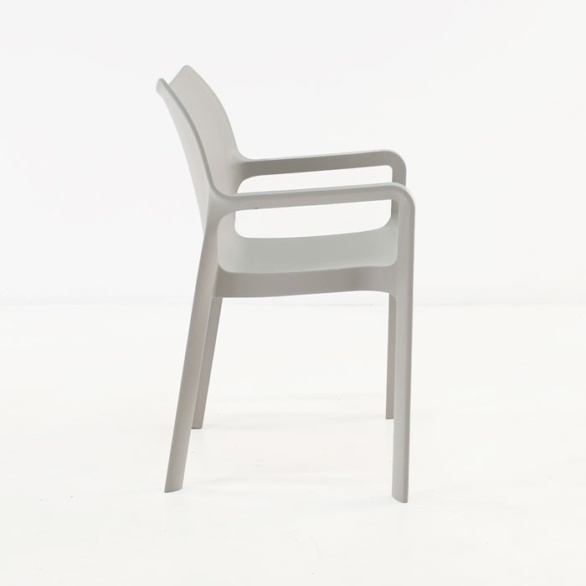 Cafe Dining Chair grey side view