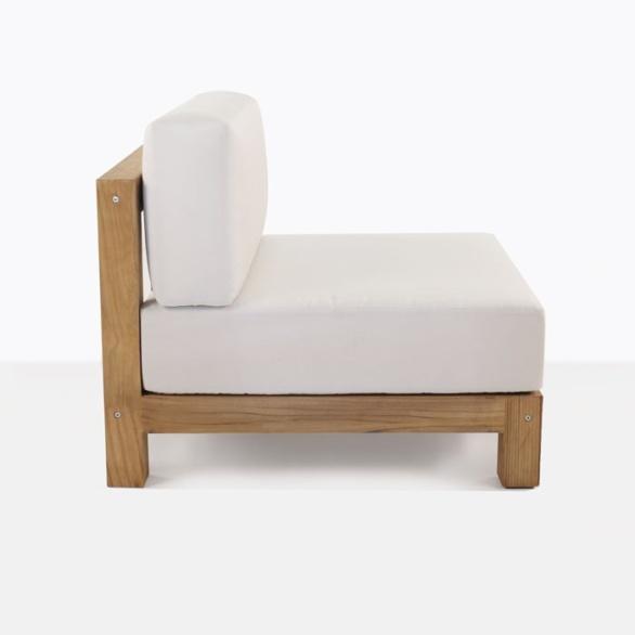 teak club chair with white cushion side view