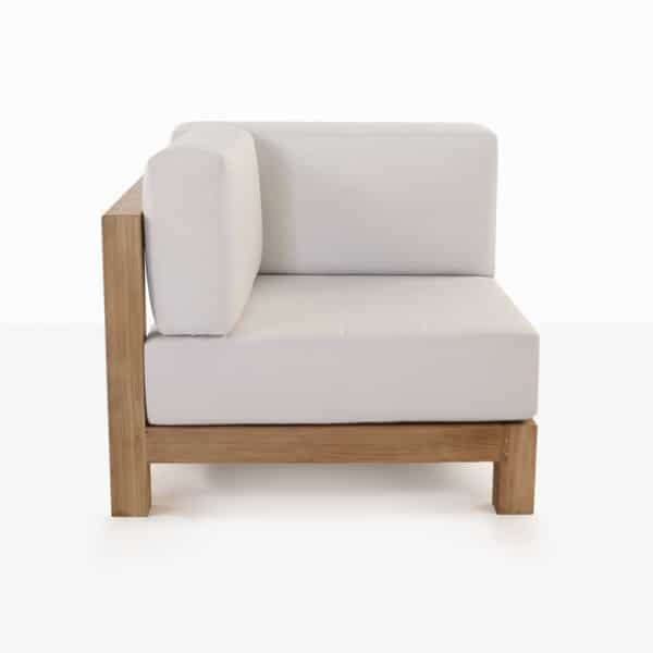 front view - teak corner chair with white cushion side view