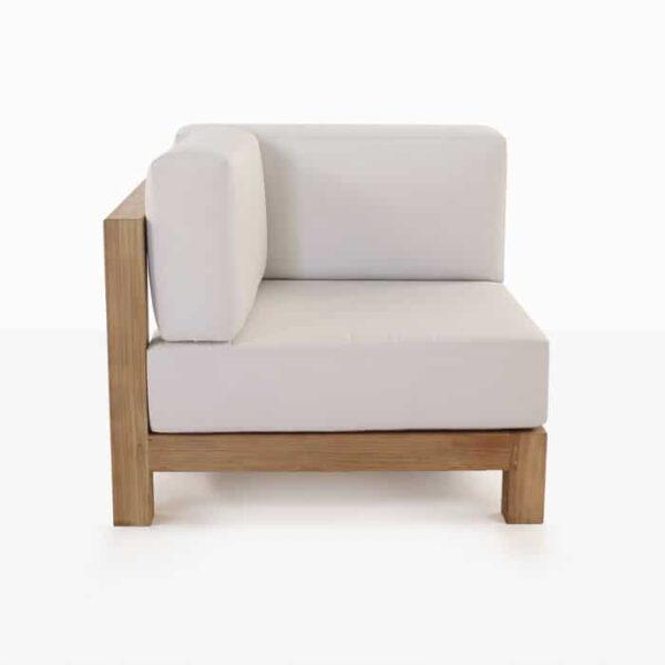 teak corner chair with white cushion side view