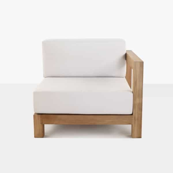 front - teak left arm chair with white cushions