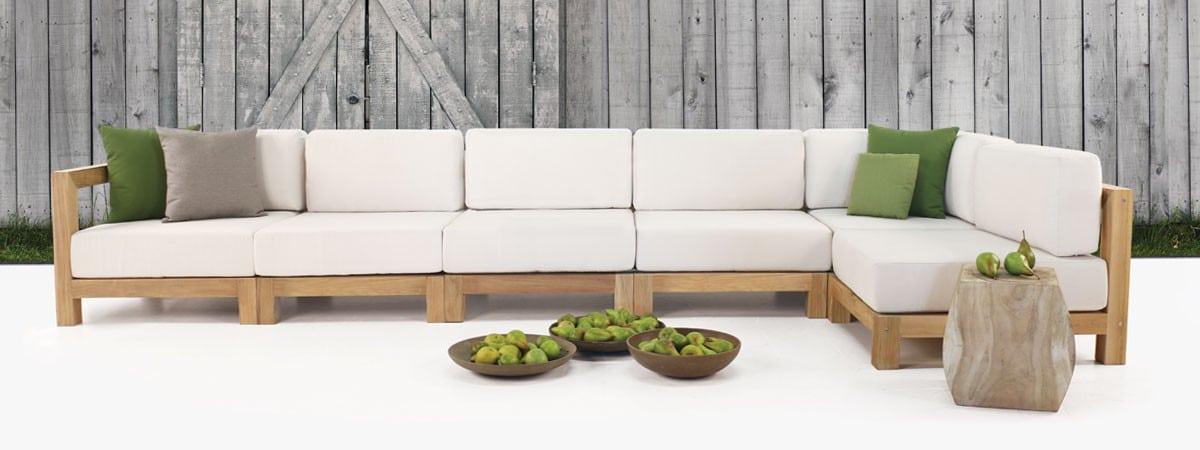 teak sectional outdoor furniture - white