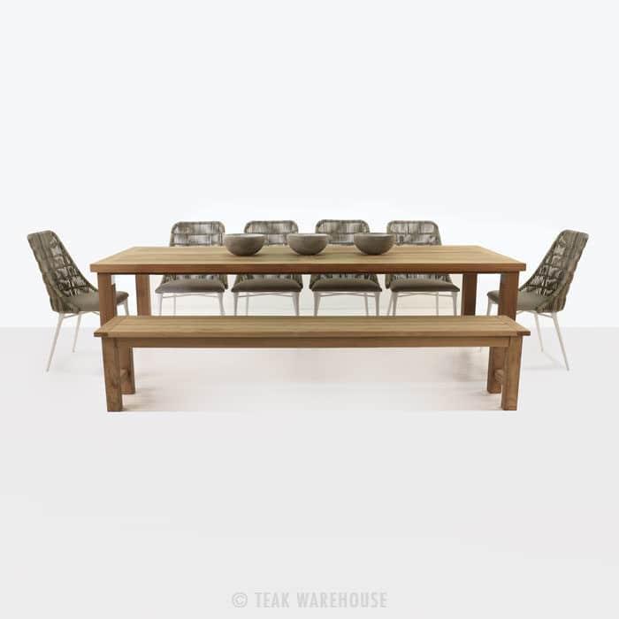 Long island dining set with morgan chairs teak warehouse