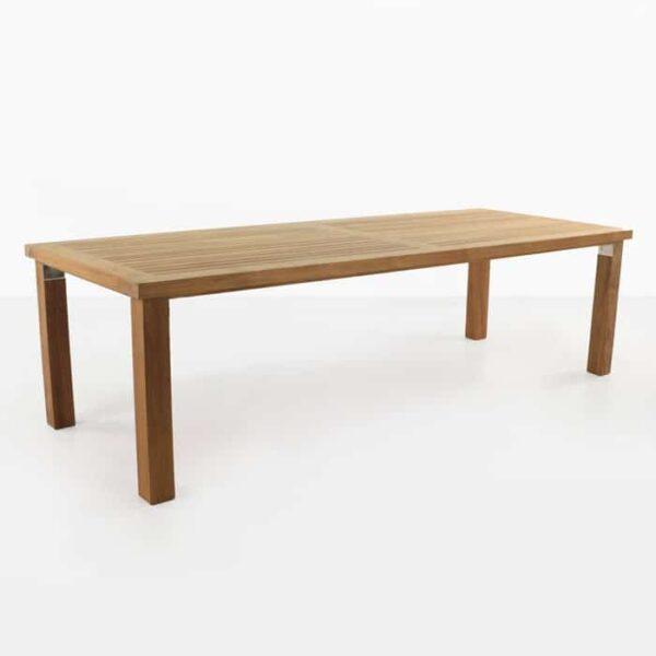large rectangular teak dining table