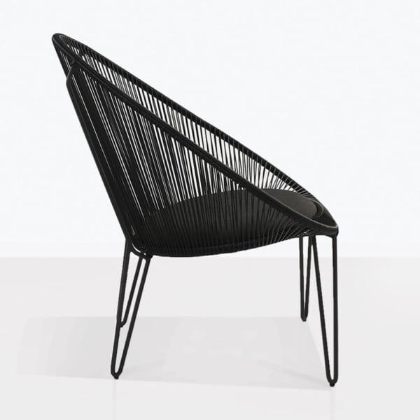 Abbey Relaxing Chair Black Wicker Side View
