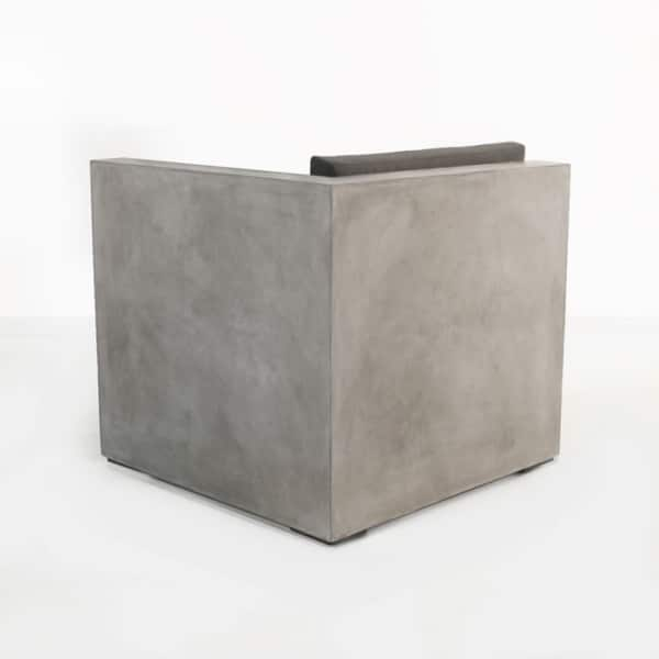 concrete outdoor chair back view