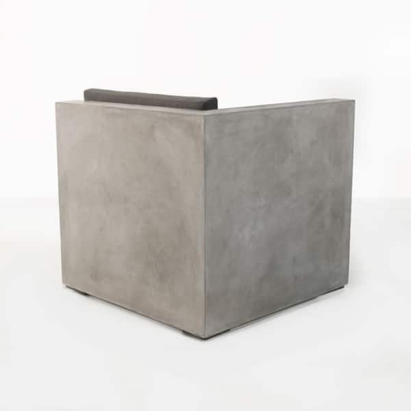 outdoor concrete chair back view