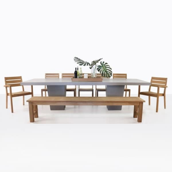 Concrete Dining Table with Teak Bench and Chairs-0