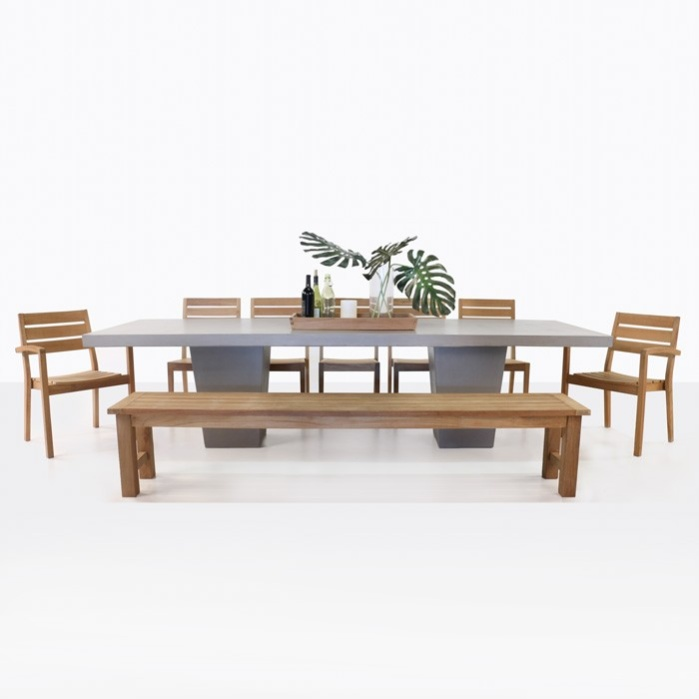 Concrete Dining Table with Teak Bench and Chairs | Teak Warehouse