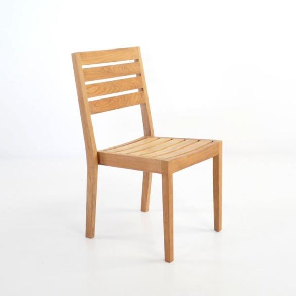 teak armless dining side chair