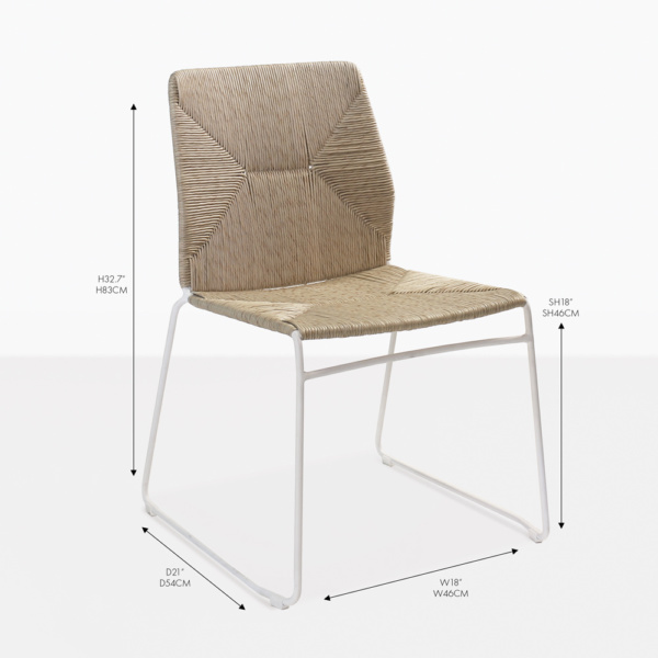 luci white wicker dining side chair