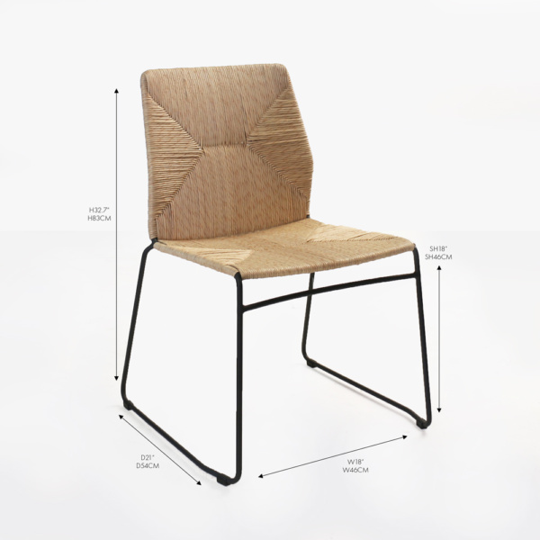 luci black wicker dining side chair