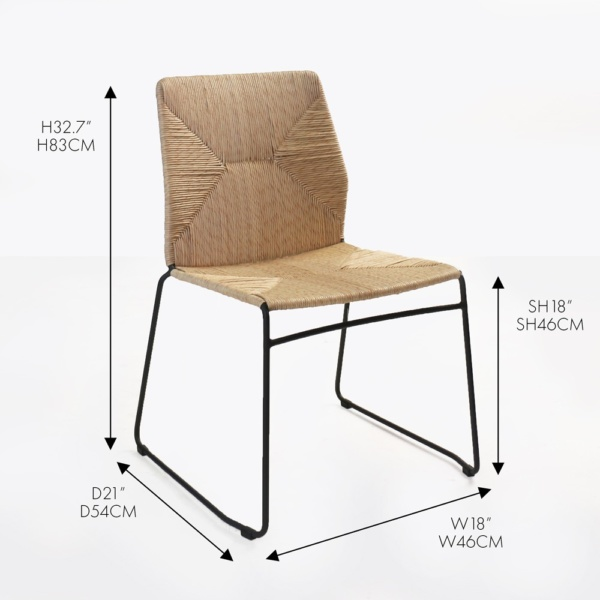 luci side wicker outdoor dining chair