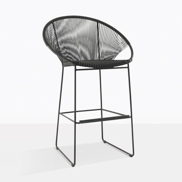 Pietro Black Wicker Bar Chair