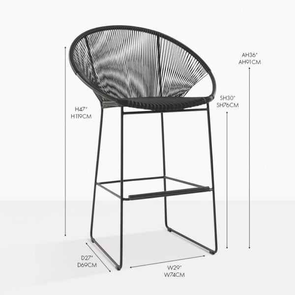 Pietro wicker bar stool black
