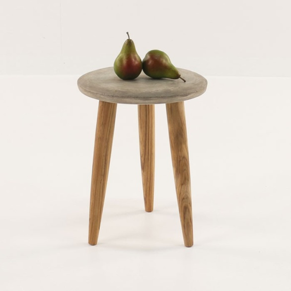 concrete side table with two pears on top