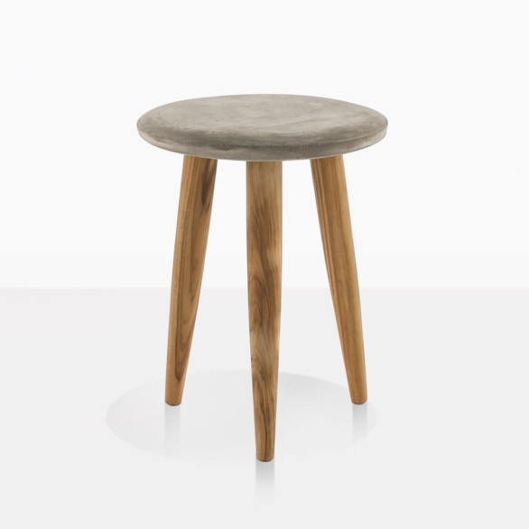 Aspen Concrete And Teak Small Side Table