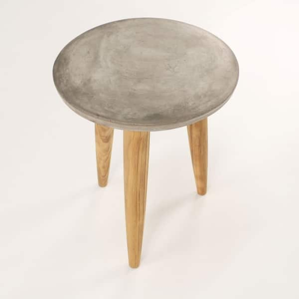 concrete side table with teak legs