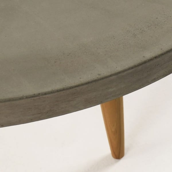 close up of concrete coffee table