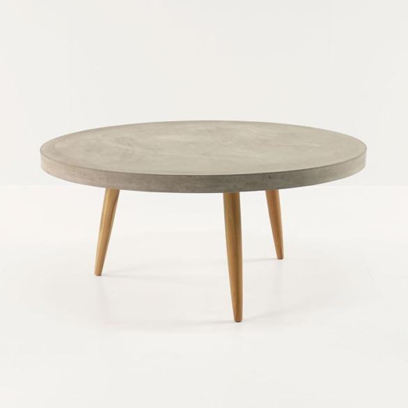 Aspen Blok Concrete Round Coffee Tables Accessories Teak
