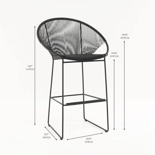 pietro bar stool black angle