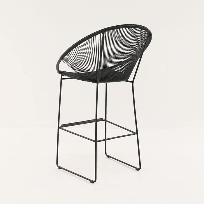 Pietro Wicker Bar Chair Black Bar Furniture Teak Warehouse