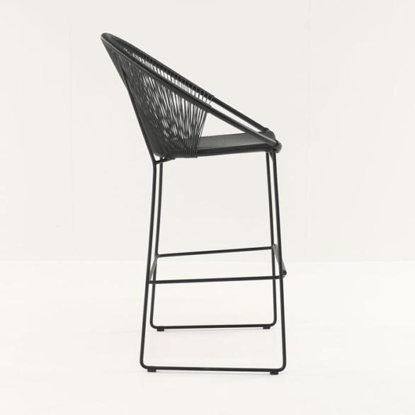 outdoor wicker bar stool in black