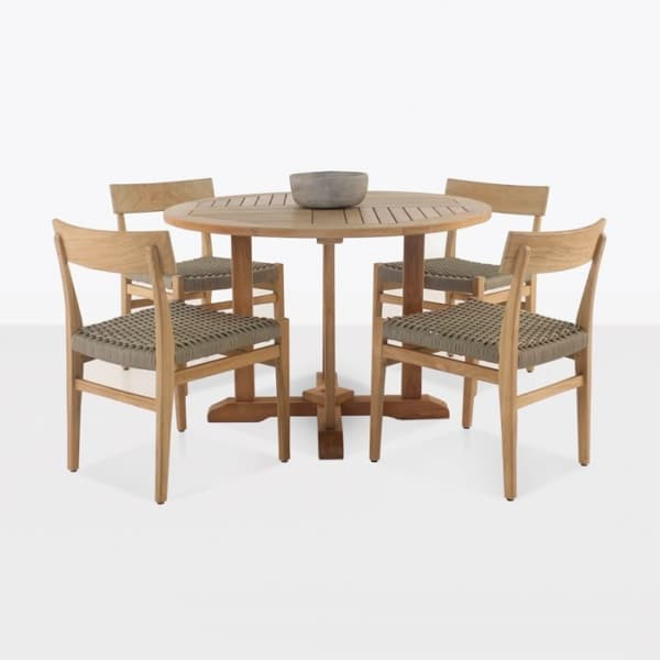 A-Grade Teak Round Pedestal & Tokio Dining Set-0
