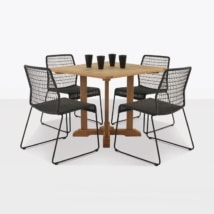 Square teak pedestal table & Edge dining set-0