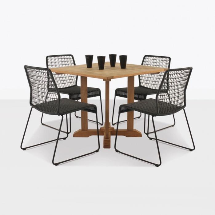 Square teak pedestal table & Edge dining set-0