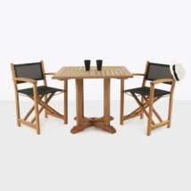 Teak Square Pedestal Table & Cannes Directors Chairs-0