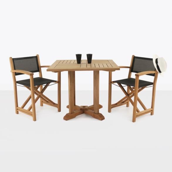 Teak Square Pedestal Table & Cannes Directors Chairs-0